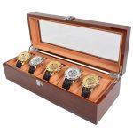 New <b>Fashion</b> Wooden Watch Box 5 Grids Solid Wood Watch Case Environmental Watch <b>Jewelry</b> Display Storage Gift Boxes Watches Casket
