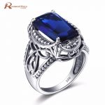 100% Pure 925 Sterling <b>Silver</b> Ring Retro Classic Created Sapphire Stone Rings For Women Wide Party Fashion <b>Jewelry</b> Wholesale