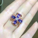 Natural blue tanzanite stone Ring Natural gemstone Ring S925 <b>sterling</b> <b>silver</b> trendy Romantic Clover women's party fine <b>Jewelry</b>