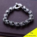 925 Sterling <b>Silver</b> Vintage Thai Fashion Personality Crusader Retro Link Chain <b>Bracelet</b> CH053011