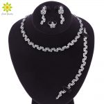 Luxury Bridal Jewelry Sets <b>Silver</b> Color Crystal Necklace Earrings Ring <b>Bracelet</b> Sets Wedding Engagement Jewelry