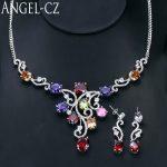 ANGELCZ Romantic Purple Red Green African Crystal Big Flower Dangle Nigerian Party <b>Necklace</b> Earrings For Women <b>Jewelry</b> Set AJ074