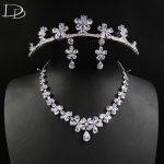 DODO Romantic Cherry Wedding Jewelry Set Shine AAA Cubic Zircon Tiara Necklace <b>Earrings</b> Sets Real White Gold Color Bijoux D15361