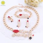 Bridal <b>Jewelry</b> Sets Red Sexy Lip And Enameled Lipstick Kiss <b>Make</b> Up Women Gold Color Necklace Earring Bracelet Ring Set