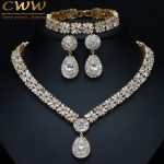 CWWZircons Exclusive Dubai Gold Color Jewellery Luxury Cubic Zirconia Necklace Earring Bracelet Party <b>Jewelry</b> Set For Women T053