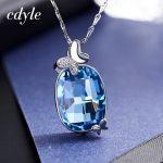 Cdyle Crystals From Swarovski <b>Necklace</b> Women Pendants S925 Sterling <b>Silver</b> Fashion Jewelry Blue Butterfly Austrian Rhinestone