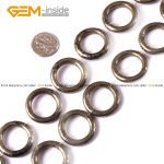 Gem-inside Natural Ring Circle Donuts Silver Gray Pyrite Beads For <b>Jewelry</b> <b>Making</b> 20-23mm 15inches DIY Jewellery