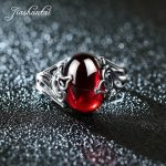 JIASHUNTAI Vintage 925 Sterling Silver Rings Gourd Shape Retro Thai Silver Red Stone <b>Jewelry</b> For Women