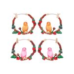 Warmhome Trendy <b>Jewelry</b> Enamel Glaze Copper <b>Fashion</b> Yellow Pink Bird Flowers Circle For Women Earrings