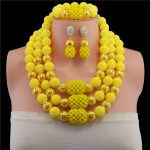 Yellow Nigerian Wedding African Beads <b>Jewelry</b> Sets Bohemian <b>Handmade</b> Acrylic Beads Earrings Necklace Bridal Chain Women Dress Se