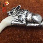 S925 pure <b>silver</b> spike man <b>necklace</b> Spike modelling of bone <b>silver</b> teeth inlay Wolf dog ornaments