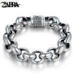 ZABRA Vintage Real Pure 925 Sterling <b>Silver</b> Rolo Chain Thick <b>Bracelet</b> For Mens Thai <b>Silver</b> Handmade Punk <b>Bracelets</b> Men Jewelry