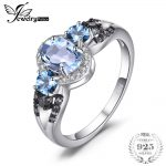JewelryPalace 1.6ct Natural 3 stones Sky Blue Topazs Ring 100% Rear 925 Sterling Silver Fine <b>Jewelry</b> Engagement Rings For Women