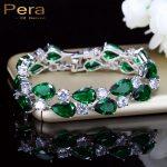 Pera Luxury CZ Green Cubic Zirconia Stone Large Women Charm Bangle Bracelets Bridal <b>Jewelry</b> <b>Accessories</b> For Bridesmaids B029