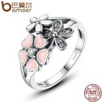 BAMOER 925 Sterling Silver Pink Flower Poetic Daisy Cherry Blossom Finger Ring for Women Engagement <b>Fashion</b> <b>Jewelry</b> SCR004