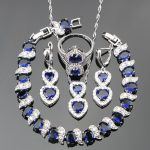 <b>Silver</b> 925 Trendy Blue Stones White CZ Ring Size 6/7/8/9/10 <b>Bracelet</b> Length 20CM Jewelry Sets For Women Free Jewelry Box