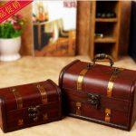 2pcs/set Large <b>Antique</b> wooden <b>jewelry</b> box , storage box,retro nostalgia classical Western tamps style wooden box