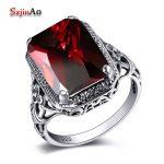 Szjinao <b>Handmade</b> Fashion Luxury Wedding Rings 925 Sterling Silver Gorgeous Garnet Rings For Women Vintage <b>Jewelry</b> Wholesale