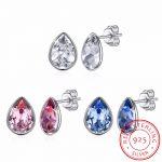 LEKANI Crystal From Swarovski Waterdrop Stud <b>Earrings</b> Simple Fashion Piercing S925 <b>Silver</b> Fine Jewelry For Women Joyas