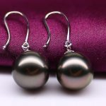 free shipping charming 10-11mm Tahitian round black red pearl <b>earring</b> 925s