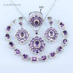 L&B Bridal Jewelry Sets Purple Rhinestone White CZ <b>silver</b> Color 925 Stamp women Jewelry <b>Bracelet</b>/earrings/Necklace/Ring
