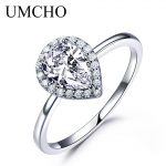 UMCHO Real <b>Silver</b> 925 <b>Jewelry</b> Luxury Bridal Water Drop Cubic Zircon Rings For Women Solitaire Engagement Wedding Party Brand