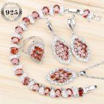 Red Zircon Women Costume <b>Silver</b> 925 Bridal Jewelry Sets <b>Bracelet</b>/Pendant/Necklace/Rings/Earrings Set With Stones Jewelery Box