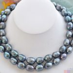 HOT## Wholesale FREE SHIPPING >>> P4365 Huge 2row 18″ 14mm peacock black rice freshwater pearl <b>necklace</b>