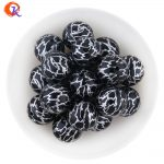 New Arrival Cordial Design 20MM 100Pcs/Lot Printing Silver On Black Acrylic Bead For <b>Handmade</b> <b>Jewelry</b> Accessories CDWB-701284