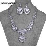 Luxury Large Flower Cubic Zirconia CZ Wedding Bridal <b>Necklace</b> and Earring <b>Jewelry</b> Set