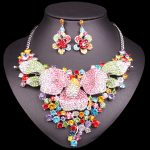 Fashion Indian Bridal <b>Jewelry</b> Sets Wedding Costume <b>Necklace</b> Earrings Sets Big Flowers crystal set of jewellery for Brides Women
