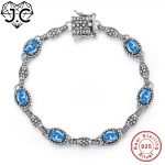 J.C Classic Style Pink & Blue Topaz Fine Jewelry <b>Bracelets</b> Genuine 925 Standard Sterling <b>Silver</b> <b>Bracelet</b> For Girlfriend Gifts