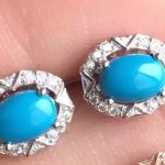 natural blue turquoise stone <b>earrings</b> 925 <b>silver</b> Natural gemstone <b>earring</b> women classic round <b>earrings</b> for anniversary
