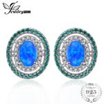 Jewelrypalace Ocean Star 0.5ct Created Black Opal Nano Russian Simulated Emerald Halo Studs <b>Earrings</b> 925 Sterling <b>Silver</b>