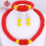 African Nigerian Wedding Sexy Antique Natural <b>Jewelry</b> Set Rose Red and Yellow Crystal Beads <b>Supplies</b> for <b>Jewelry</b> High Quality