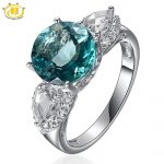 Hutang 5.62ctw Natural Blue Fluorite Topaz Ring Solid 925 Sterling <b>Silver</b> Gemstone Fine Stone <b>Jewelry</b> Women's Gift New Arrival