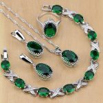 Silver 925 <b>Jewelry</b> Green Created Emerald White CZ <b>Jewelry</b> Sets Women Earrings/Pendant/Necklace/Rings/Bracelet