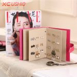 <b>Fashion</b> Women Stud Earrings Collection Book PU Leather Earring Storage Box Creative <b>Jewelry</b> Display Holder Jewellery Container