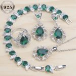 Green Zirconia Bridal Jewelry Sets Women 925 Sterling <b>Silver</b> Jewelry With Earrings Rings <b>Bracelet</b> Pendant Necklace Set Gift Box