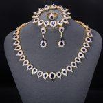 ZHE FAN Trendy AAA Cubic Zircon Luxury <b>Jewelry</b> Sets For Women Gold Color Party Anniversary Wedding Blue Green Black 4 Pcs Set