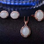Natural and Tian Biyu set 925 <b>Silver</b> Jewelry Ring Necklace <b>Earrings</b> Set ornaments jewelry set of three pieces