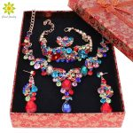 Fashion Crystal Wedding <b>Jewelry</b> Sets For Bride Party Costume Accessories Bridal <b>Necklace</b> Earring Jewellery+Gift Boxes
