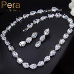 Pera Top Cubic Zirconia Bridal <b>Jewelry</b> Set Silver Color Big Pear Cut Connected Women Choker <b>Necklace</b> / Earrings For Wedding J207