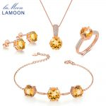 LAMOON 100% Real 925-Sterling-<b>Silver</b> 4PCS Jewelry Sets For Women Natural Gemstone Citrine Fine Jewelry Wedding Gift V002-1