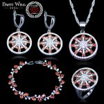 Russian style Red Cubic Zirconia 925 <b>Silver</b> Jewelry Sets For Women Necklace Pendant Earrings Ring <b>Bracelet</b> Free Gift Box