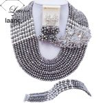 Laanc Latest 10 Rows <b>Silver</b> Plated Crystal Statement Necklace Wedding Jewelry Sets African Beads Nigerian Beads C22P026