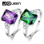 2018 Women Wedding Gemstone Rings 5.25ct 925 Sterling <b>Silver</b> Ring Amethyst Emerald Cut Purple Green Nature Stone <b>Jewelry</b>