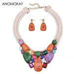 Vintage Colorful Geometric Acrylic Necklace <b>Jewelry</b> Set <b>Handmade</b> Wave Leather Strap Ethnic Necklace Earring <b>Jewelry</b> Set Gift