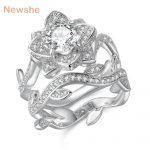 Newshe 2.3 Carats 925 Sterling Silver <b>Wedding</b> Ring Set Flower Shape Engagement Band Classic <b>Jewelry</b> For Women JR4580