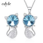Cdyle Crystals From Swarovski Elegant S925 Sterling <b>Silver</b> jewelry Women Necklace <b>Earrings</b> sets Women Valentine's Day Party Gift